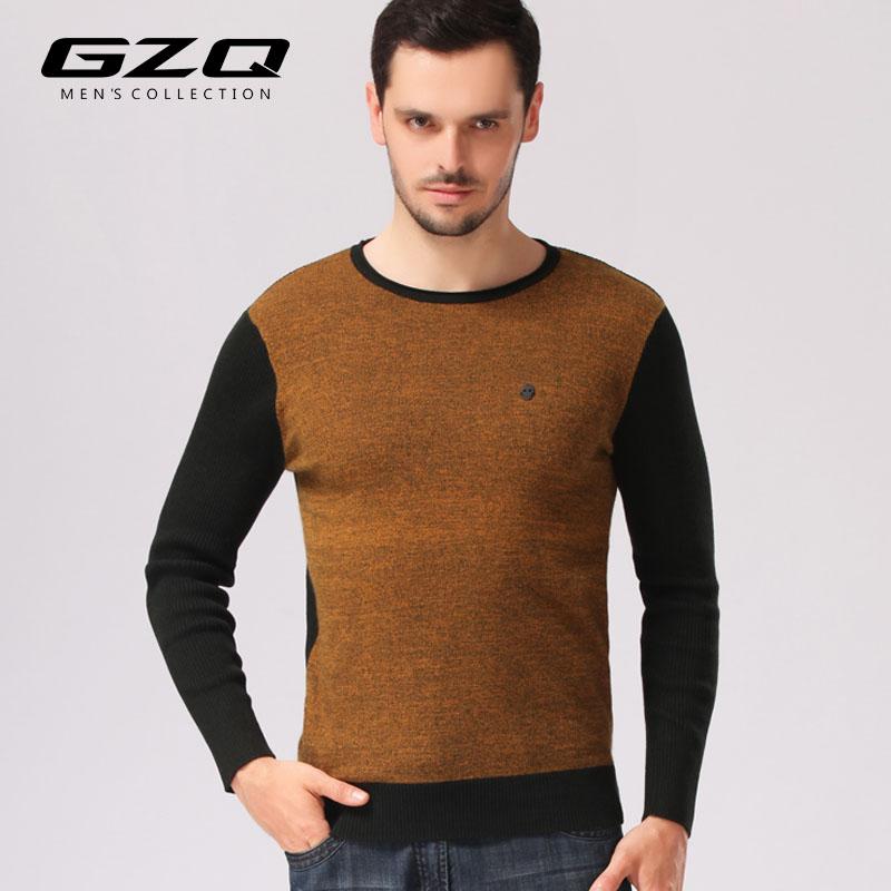 GZQ2014秋冬新款男士套头貂绒衫 男长袖圆领拼接针织衫打底衫
