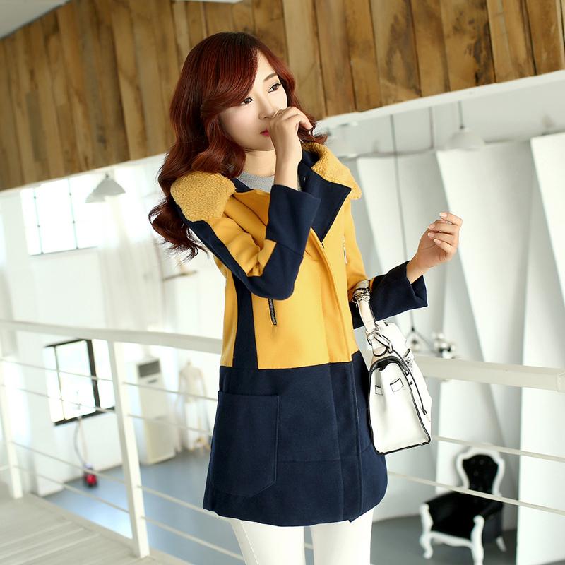 2014韩国冬装复古中长款羊毛呢子大衣 双色拼接大码女装长袖外套