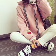 秋冬新款BF学院风加绒长袖连帽卫衣女韩版宽松学生上衣服外套女潮