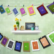 创意画框DIY挂墙组合相框 卡通悬挂纸5寸6寸7寸照片墙送麻绳夹子