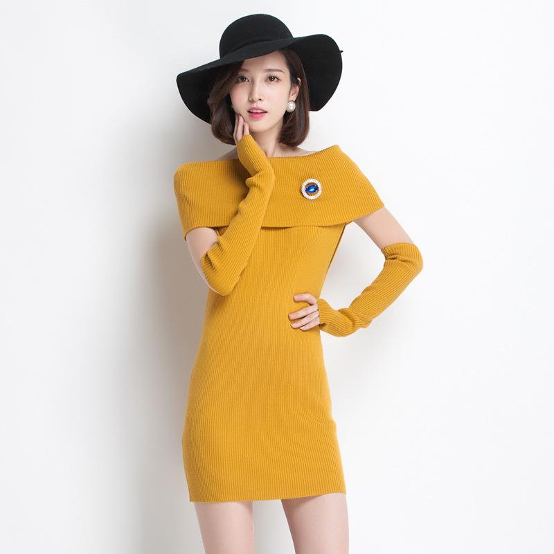 2014秋季新款女装裙子 经典女人味时尚一字领修身针织连衣裙