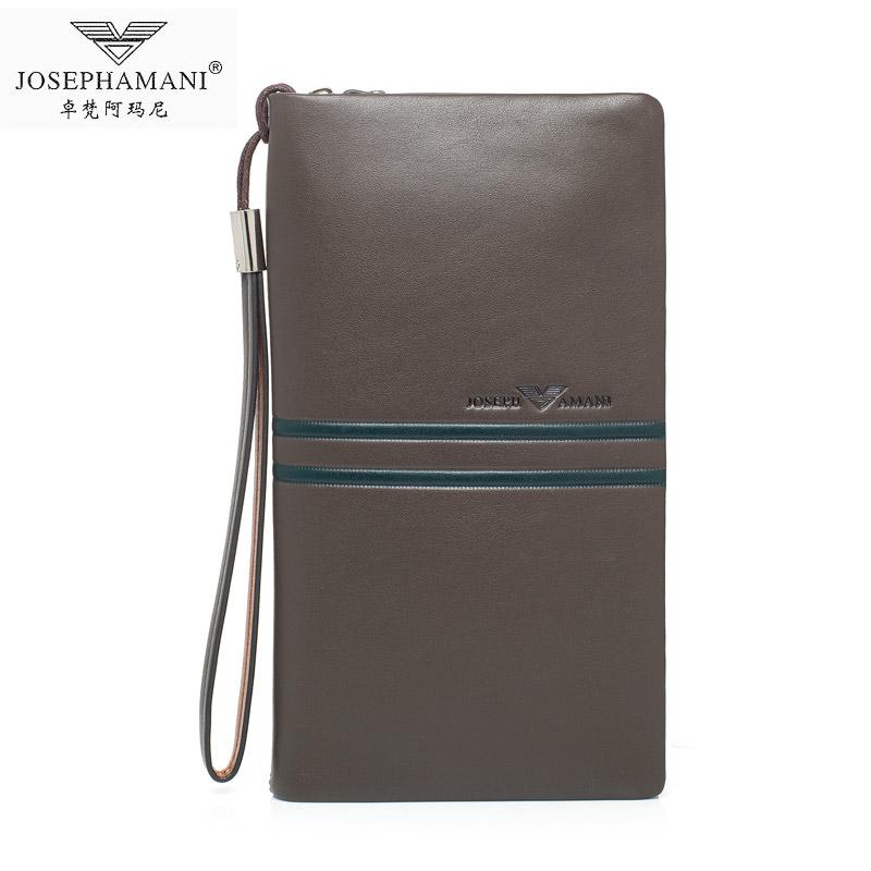 卓梵 阿玛尼 男士头层牛皮大容量手拿包欧美时尚真皮手包正品