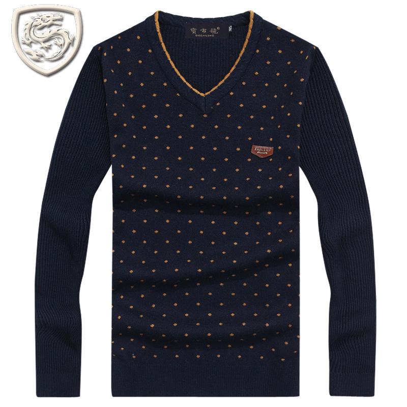 2014秋冬装新款男装 男士V领毛衫 男休闲加厚中年毛衣 男士毛衣