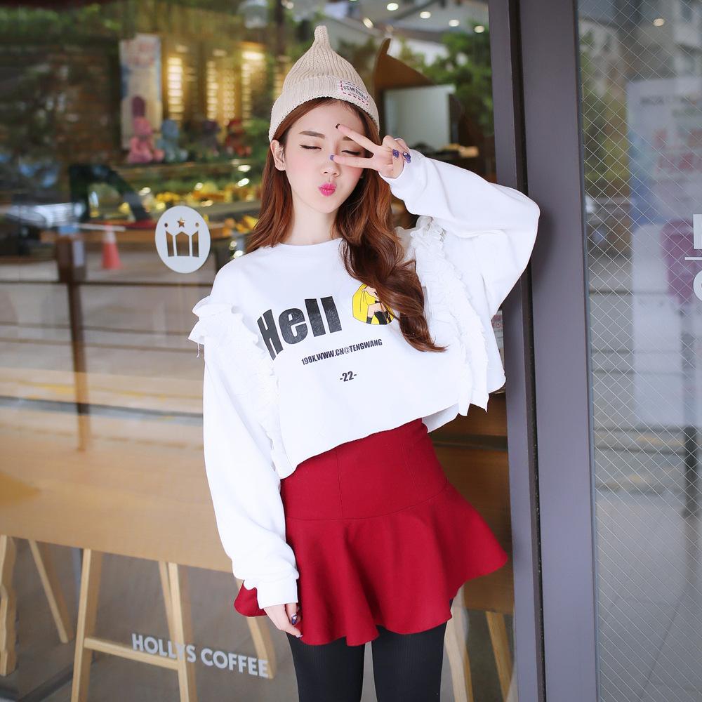 2014韩版女装 秋冬装时尚新款~百搭印花木耳边长袖短款卫衣
