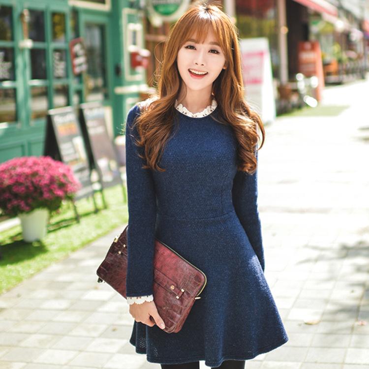 2015春季新款韩版女装气质修身收腰蕾丝拼接花边领大摆连衣裙F714
