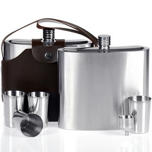 不锈钢酒壶随身户外便携白酒金属扁瓶304丝70斤装德国加厚5百事乐