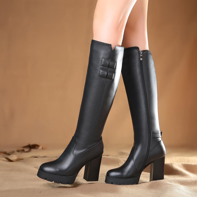 2014秋冬订做大筒围靴子女胖mm粗腿靴加肥高筒靴真皮粗高跟女靴子