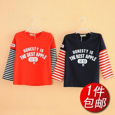 童装15春秋新品上衣 韩版假两件男童宝宝长袖T恤 儿童纯棉打底衫