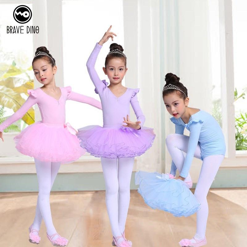 儿童舞蹈服装女芭蕾舞裙女童练功服女孩演出服幼儿长袖纱裙蓬蓬裙
