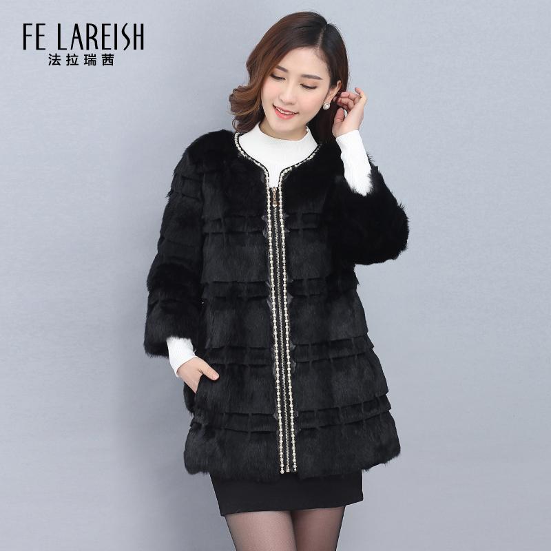 女士皮草外套中长款2016冬季女装长袖韩版修身时尚气质大衣冬装