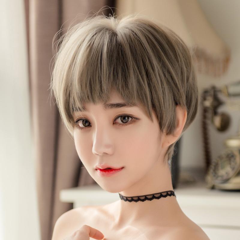尚青丝 狗啃式二次元刘海假发女短发自然逼真蓬松奶奶灰bobo头套