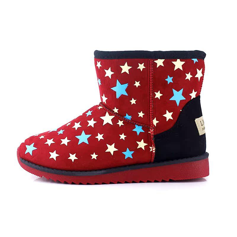 冬季新款女棉鞋百搭舒适雪地靴女拼色星星加绒短靴套筒棉鞋学生靴