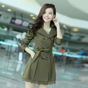 风衣女2015春款 韩国女式风衣大码女装春秋装女士风衣中长款外套