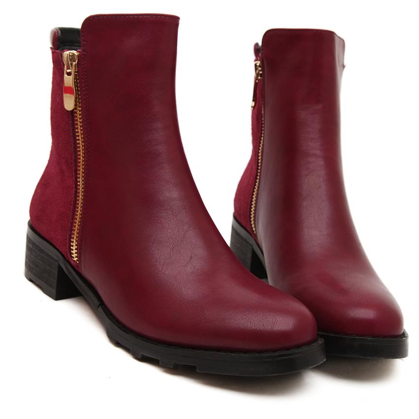 2014新款春秋冬季女式牛皮小短靴英伦中跟马蹄跟 双拉链新品靴子