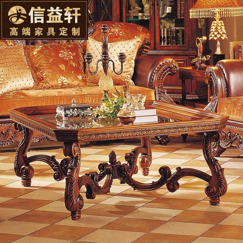 茶几别墅客厅欧式茶台钢化玻璃仿古茶桌图片