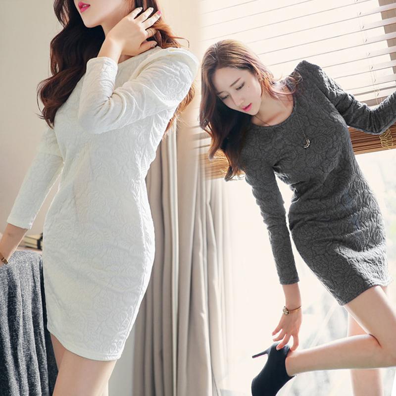 2015春装新款女韩版长袖包臀连衣裙气质大码女装修身显瘦打底裙子