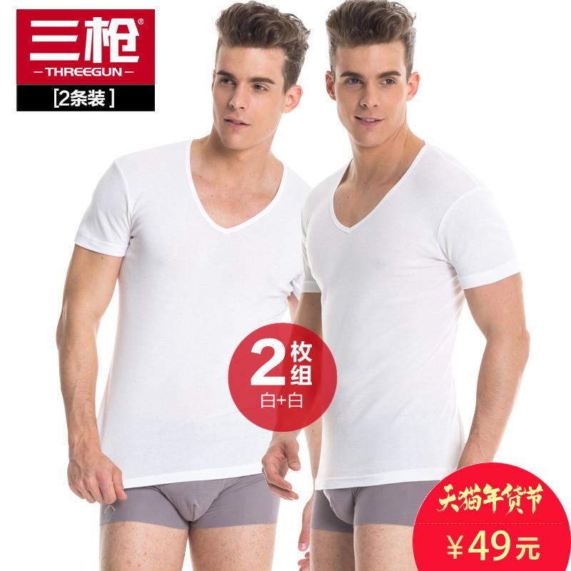 [2条装]三枪T恤 大码男士打底衫V领纯棉男短袖内衣薄全棉白色汗衫
