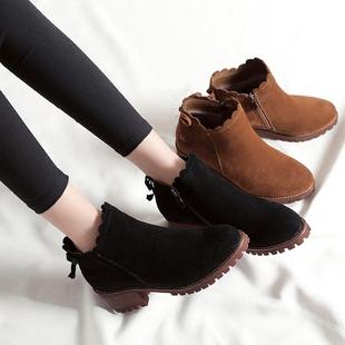 女鞋2017新款女秋冬马丁靴英伦风裸靴韩版粗跟加绒短靴高跟靴子潮