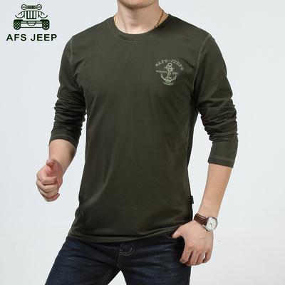 秋季新款AFS JEEP男士长袖T恤战地吉普男装纯色圆领长袖青年T恤衫
