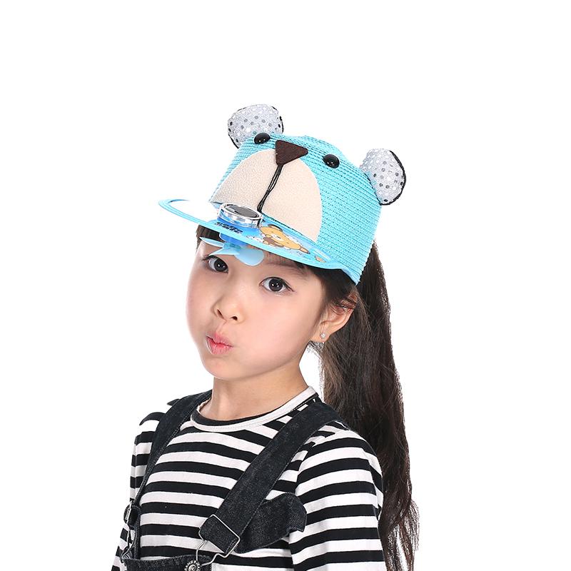 夏季太阳能风扇帽子 韩版卡通儿童太阳能草帽圆顶草编防晒鸭舌帽