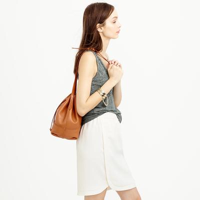 美国J家时尚休闲运动风 弧形摆白色松紧系带半裙短裙夏