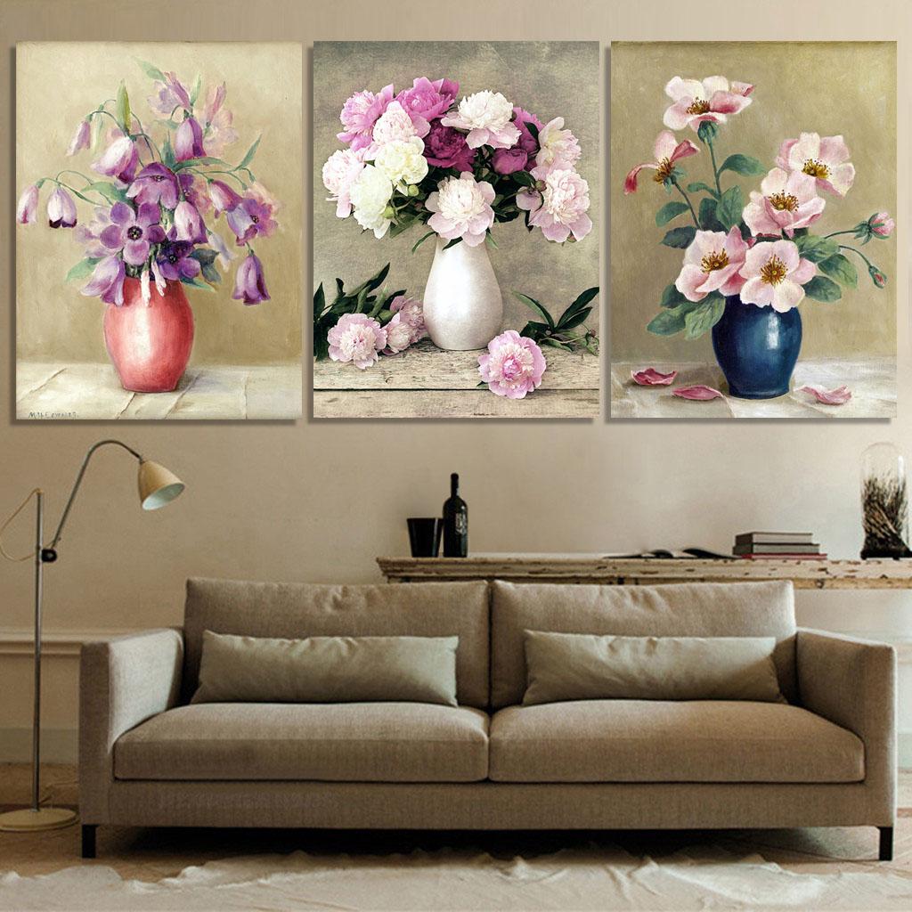 客厅装饰画无框画美式三联画墙画花卉挂画卧室沙发墙