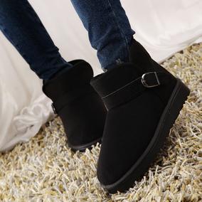 冬季防滑保暖短筒雪地靴女靴子学生平底短靴冬靴棉鞋情侣男女鞋潮