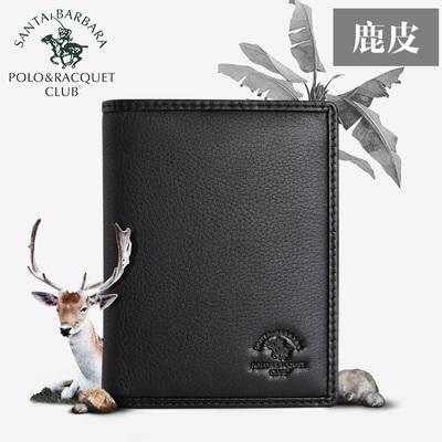 圣大保罗polo 细腻鹿皮男士钱包短款真皮竖款 加厚休闲钱夹男正品