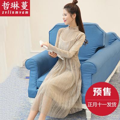 2016女装春装新款潮2017蕾丝连衣裙长裙套装两件套秋冬款韩版时尚
