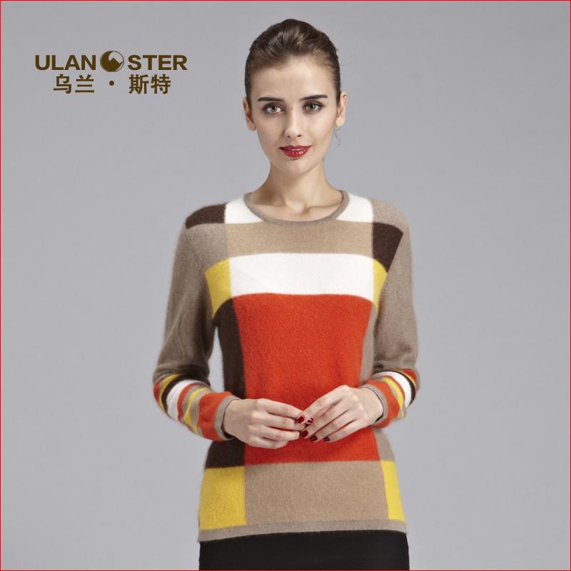 鄂尔多斯2015秋冬新款女装拼色纯山羊绒衫针织打底套头毛衣女圆领