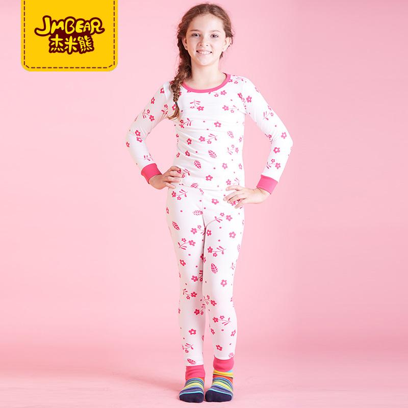 正品杰米熊童装儿童家居服套装女童中大童舒适长袖秋衣裤2件套