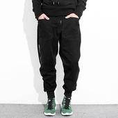 潮牌宽松小脚裤Jogger Pants哈伦工装裤男士束脚裤黑色休闲长裤子