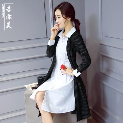 连衣裙女2016春季新款衬衫领假两件套条纹拼接A字裙学院风打底裙