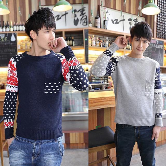 针织衫毛线衣男装外套修身韩版羊毛衫潮拼色圆领套头毛衣特价包邮