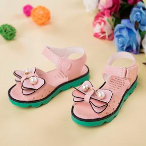 新款春夏日韩学生儿童女童凉鞋 宝宝露趾软底鱼嘴蝴蝶结运动凉鞋