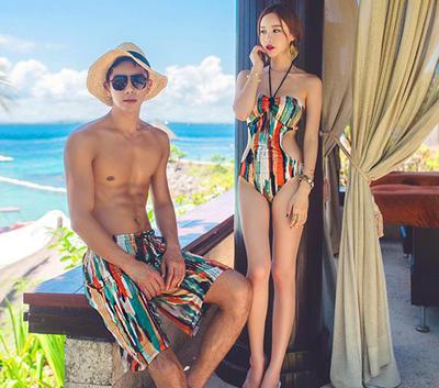 桃小姐韩国情侣温泉泳装保守抹胸三角连体女式游泳衣男士沙滩泳裤