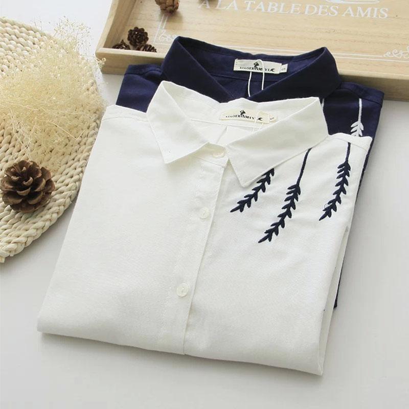 2015年春装新款森女系简约舒适刺绣柳叶翻领百搭白衬衫 衬衣女