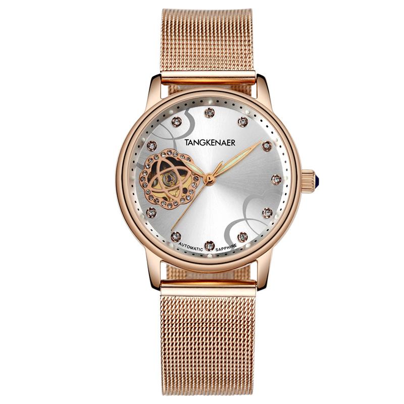 潮流防水女士机械全自动时尚 唐可娜儿牌皮带手表