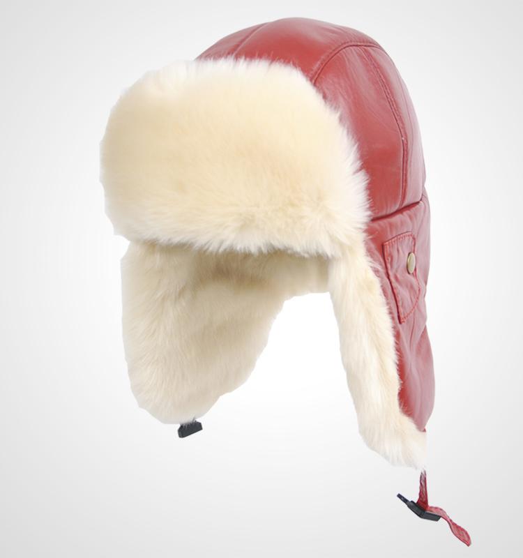真皮雷锋帽冬季男女通用时尚皮草帽男士帽子户外冬季加厚仿羊毛帽