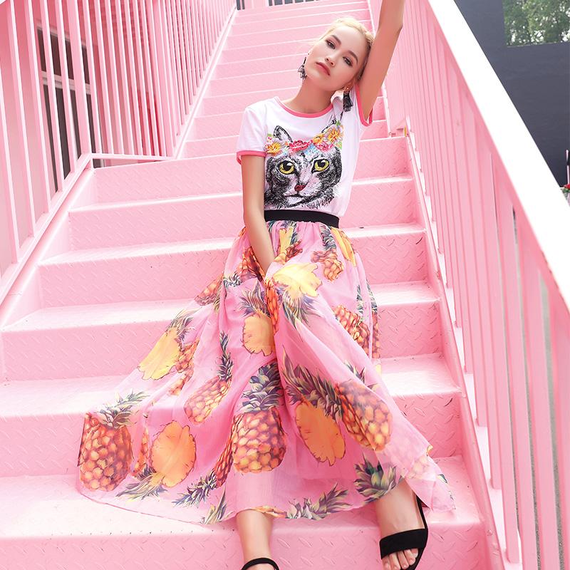 波西米亚半身裙女夏季印花菠萝松紧腰雪纺飘逸仙女裙A字长裙子潮