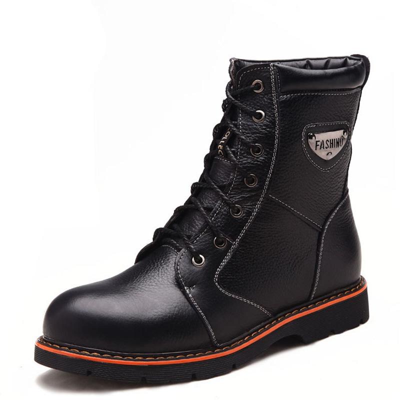 头层牛皮英伦男靴潮流 时尚皮靴潮男秋季个性潮鞋靴子男真皮中靴