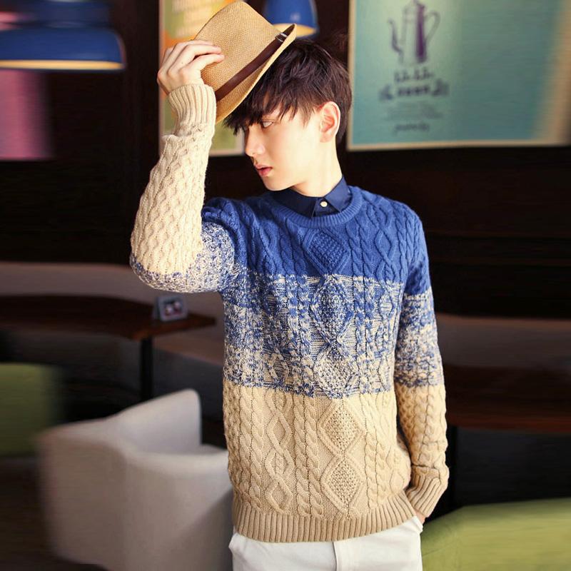 空城计秋冬季款男士加厚套头条纹长袖毛衣外套针织衫韩版潮流null