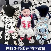 婴儿连体衣服女男宝宝新生儿纯棉薄款6哈衣春秋夏季春装0岁3个月