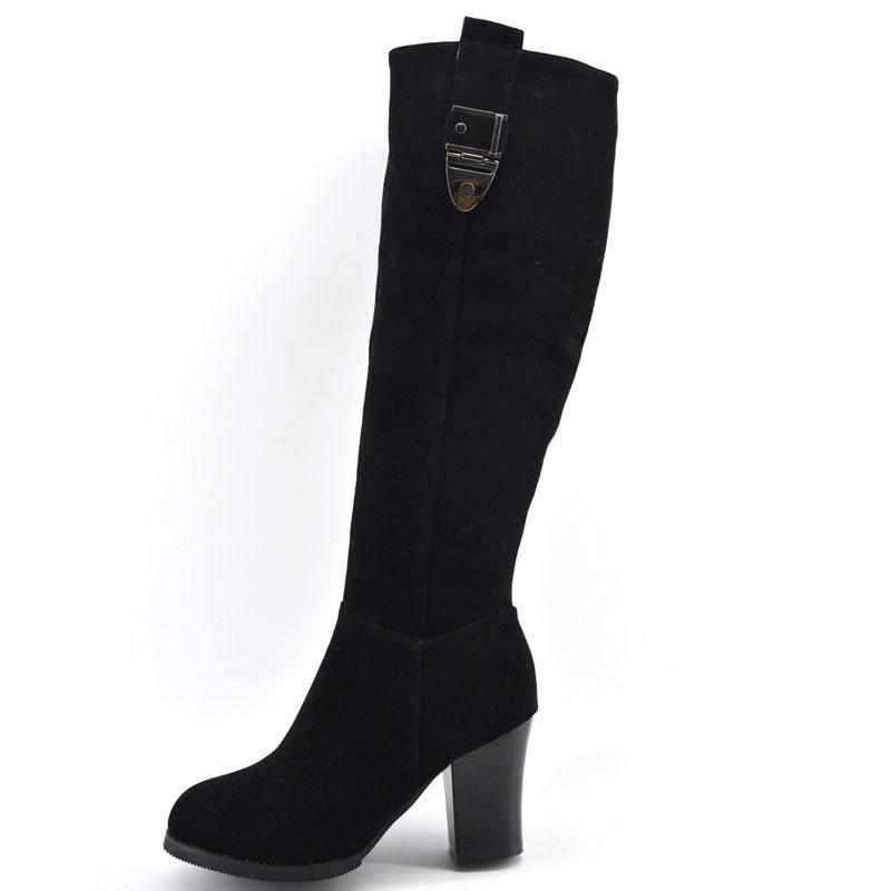 正品俪人谷204冬季新款粗高跟磨砂女靴子高筒侧拉链显瘦长靴子