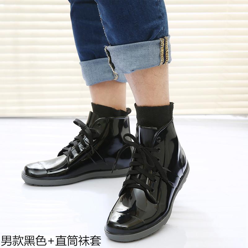 新款春夏时尚短筒雨鞋男套鞋韩版水鞋防滑雨靴板鞋男雨鞋情侣雨鞋
