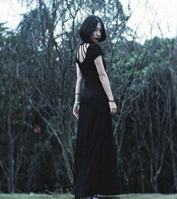 春装新款性感女装古典夜店装镂空短袖黑色礼服长裙连衣裙酒吧工服
