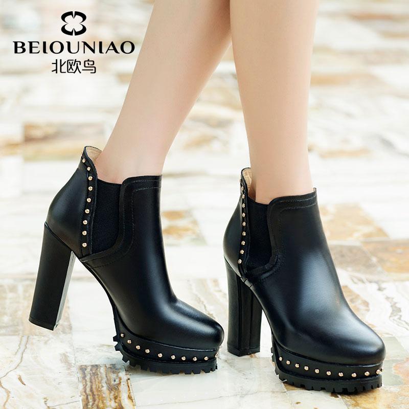 2014秋冬季新款欧美真皮马丁靴粗跟铆钉高跟短靴防水台厚底女鞋子