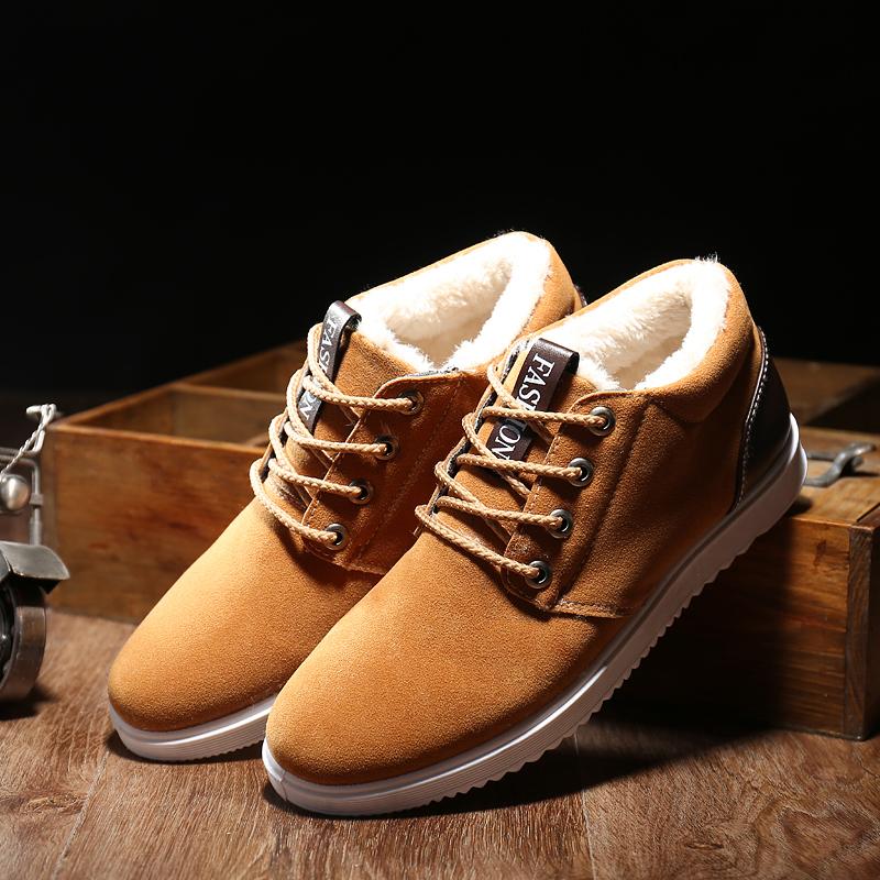 冬季加绒保暖棉鞋男士潮流雪地靴高帮鞋子男休闲短靴温暖棉鞋舒适