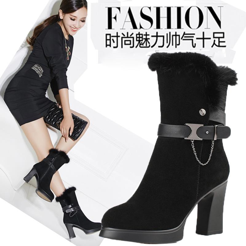 女靴秋冬短靴 高跟中筒靴粗跟真皮雪地靴防水台棉靴女靴子