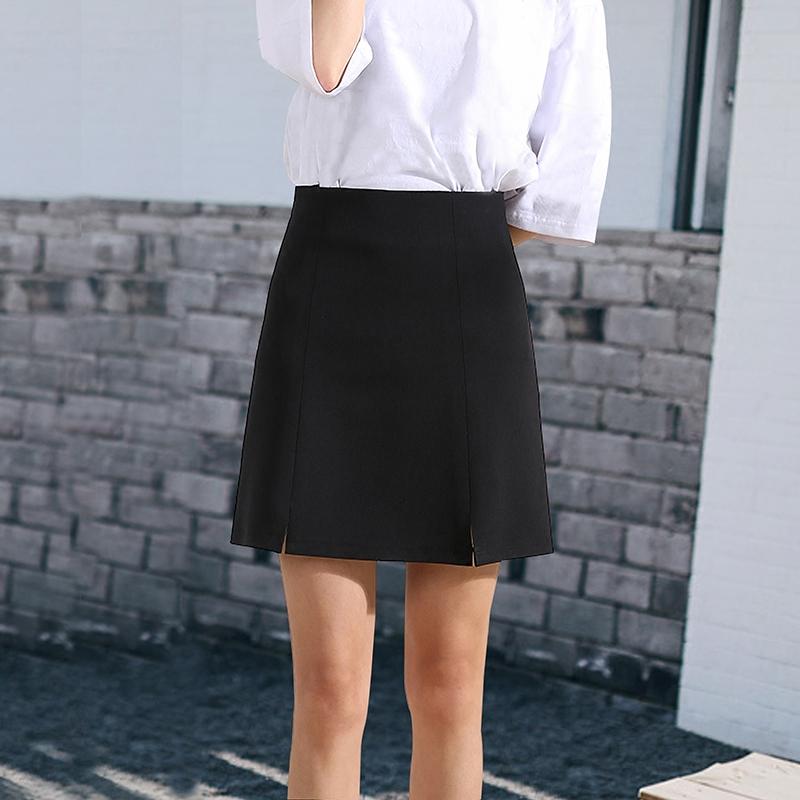 夏季高腰职业半身裙一步短裙OLa字裙正装裙西装裙开叉修身显瘦